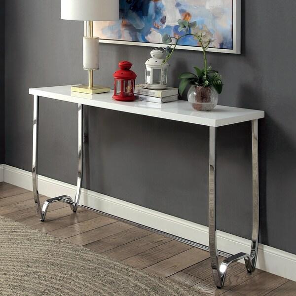Furniture of America Lenar Contemporary White Curvy Metal Base Sofa Table