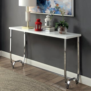 Furniture of America Lenar Contemporary White Curvy Metal Base Sofa Table