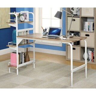 Furniture of America Urena Contemporary Multi-shelf Powder Coated White Computer Desk
