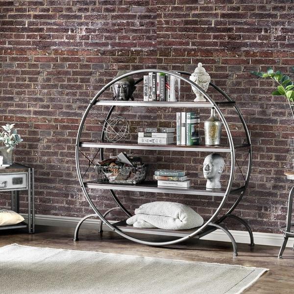 Furniture Of America Diovani Industrial Metal Dark Grey/Black Circular  4 Shelf Bookshelf