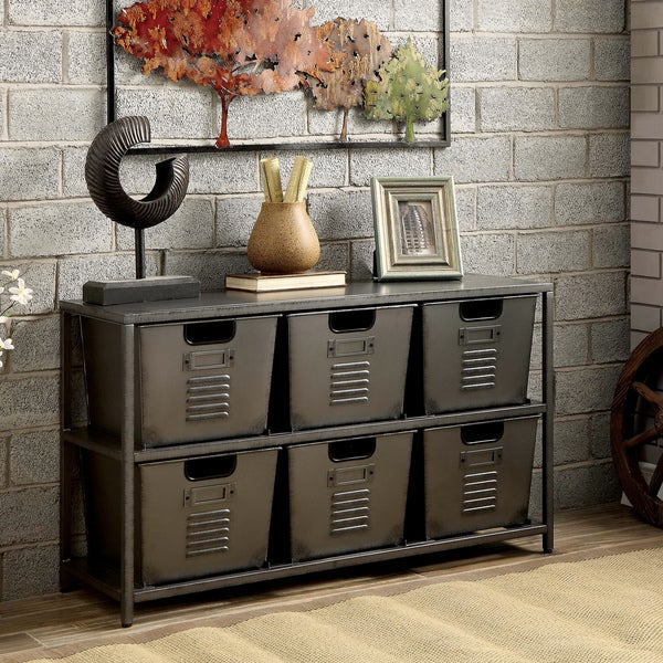 Furniture of america copern industrial gun metal storage for Homegoods industrial furniture