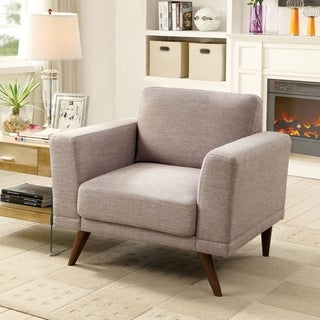 Furniture of America Calton Mid-Century Modern Track Arm Linen Upholstered Chair