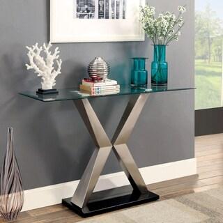 Furniture of America Gildon Contemporary Glass Top X-Base Satin Plated Sofa Table