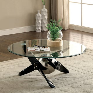 Furniture of America Gene Contemporary Propeller Style Powder Coated Black Coffee Table