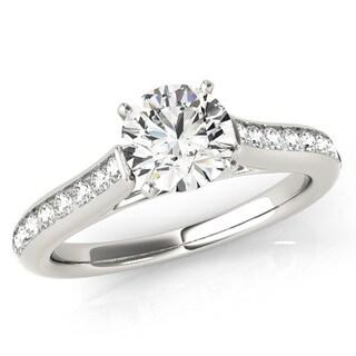 Scintilenora Classic Style Channel Set Diamond Shank Engagement Ring 18k Gold 1 1/10 TDW