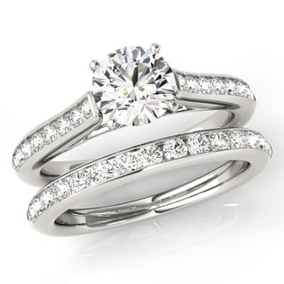 Scintilenora Classic Style Channel Set Diamond Bridal Wedding Set 18k Gold 1 1/4 TDW