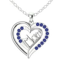 Orchid Jewelry Sterling Silver Sapphire 'Mom' Heart Shaped Pendant