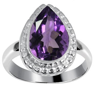 Orchid Jewelry 2 2/5 Carat Amethyst Silver Overlay Gemstone Fashion Ring