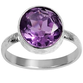 Orchid Jewelry Silver Overlay 1 1/5 Carat Amethyst Birthstone Ring