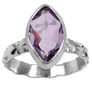 Orchid Jewelry Silver Overlay 1 2/3 Carat Amethyst Texture Fashion Ring