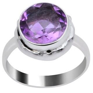 Orchid Jewelry 2 1/3 Carat Amethyst Silver Overlay Gemstone Fashion Ring
