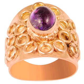 Orchid Jewelry 1 6/7 Carat Amethyst Rose Gold Overlay Fashion Ring