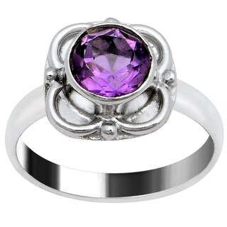 Orchid Jewelry Silver Overlay 1 1/3 Carat Amethyst Birthstone Ring
