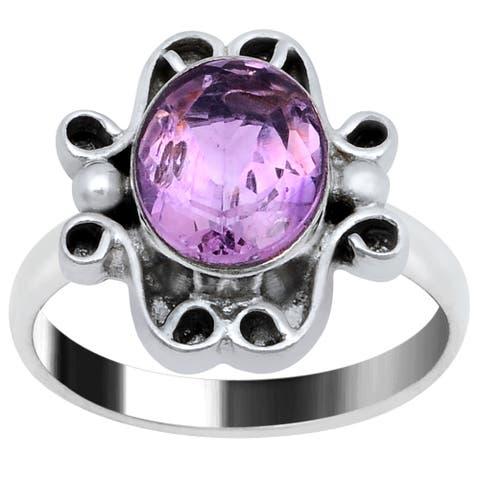 Amethyst Brass Oval Fashion Ring by Fashionablez