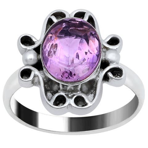 Amethyst Brass Oval Fashion Ring by Orchid Jewelry