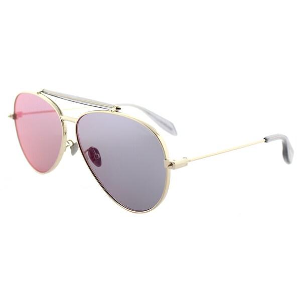 45d39b39e3d80 Alexander McQueen AM 0057S 004 Gold Metal Aviator Sunglasses with Blue  Mirror Lens