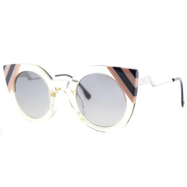 743ed80e7a6 Fendi FF 0240 40G Waves Yellow Crystal Plastic Cat-eye Sunglasses with Dark  Grey Gradient