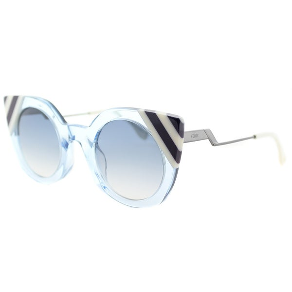ed6d92a314b7 Fendi FF 0240 MVU Waves Azure Crystal Plastic Cat-eye Sunglasses With Dark  Blue Gradient