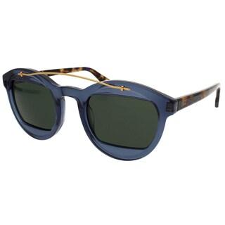 Dior DiorMania1S 889 Transparent Blue Plastic Green Lens Round Sunglasses