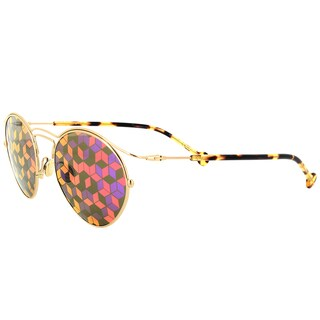 Dior DiorOrigins1 06J Silvertone Metal Round Sunglasses with Pink/Purple Geometric Mirrored Lens