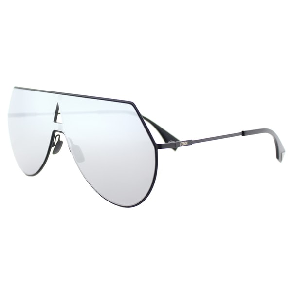35e7f4c05b35 Fendi FF 0193 003 Eyeline Matte Black Metal Silver Mirror Lens Shield  Sunglasses