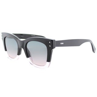 Fendi Women's FF 0237 3H2 Color Block Black Crystal Plastic Square Sunglasses with Light Pink Gradient Lens