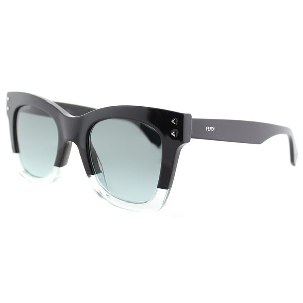 c11ec66a009 Fendi Women  x27 s FF 0237 7ZJ Color Block Black Crystal Plastic Square  Sunglasses
