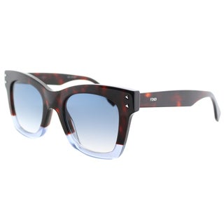 Fendi FF 0237 IPR Color Block Havana Crystal Blue Plastic Square Sunglasses with Blue Gradient Lens