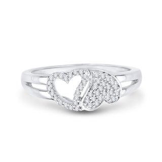 14K White Gold 1/5ct TDW Diamond Double Heart Ring (G-H, I2-I3)