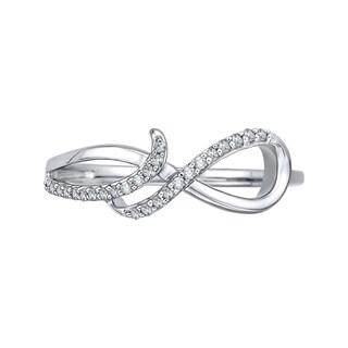 14k White Gold 1/8ct TDW Diamond Infinity Ring (J-K, I1-I2)