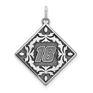 """Versil Nascar Necklace Stainless Steel Bali Type """"18 Inch Pendant Floral Leaf Pattern - Silver"""