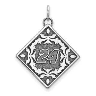"""Versil Nascar Necklace Stainless Steel Bali Type """"24"""" Pendant Floral Leaf Pattern - Silver"""