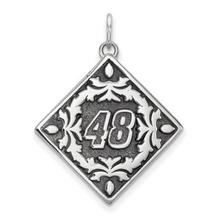 "Nascar Necklace Stainless Steel Bali Type ""48"" Pendant Floral Leaf Pattern - Nascar ""48"""