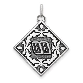"""Versil Nascar Necklace Stainless Steel Bali Type """"88"""" Pendant Floral Leaf Pattern - White"""