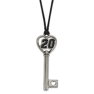 "Stainless Steel 20 Heart 2"" Key On Rope Necklace"