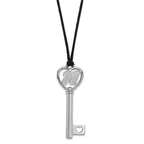"""Versil Stainless Steel 11 Heart 2"""" Key On Rope Necklace - Grey"""