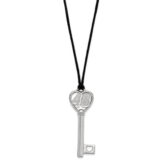 "Stainless Steel 48 Heart 2"" Key On Rope Necklace"