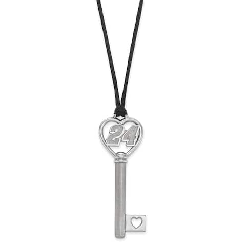 "Versil Stainless Steel 24 Heart 2"" Key On Rope Necklace - Silver"