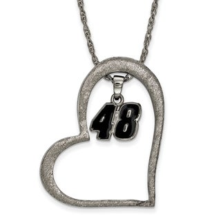 Nascar Necklace Stainless Steel Heart With Driver # 48 Dangle