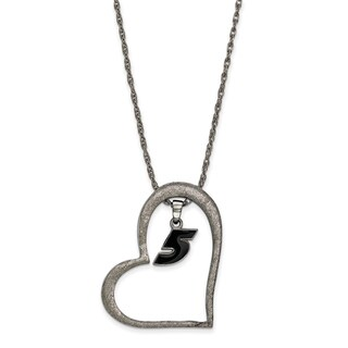 Nascar Necklace Stainless Steel Heart With Driver #5 Dangle