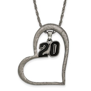 Nascar Necklace Stainless Steel Heart With Driver #20 Dangle