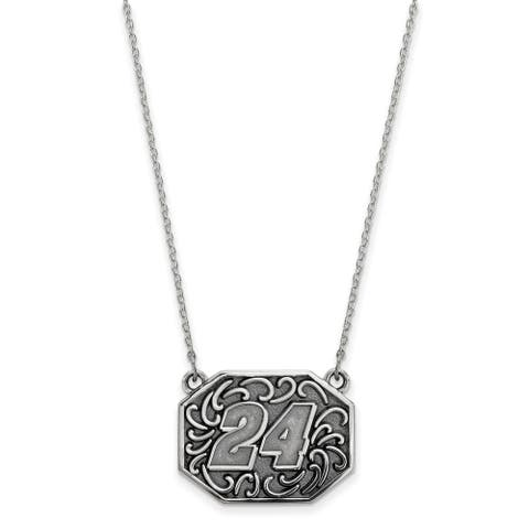 Stainless Steel Antique LogoArt Nascar 24 William Byron with 2-inch Extension Necklace by Versil