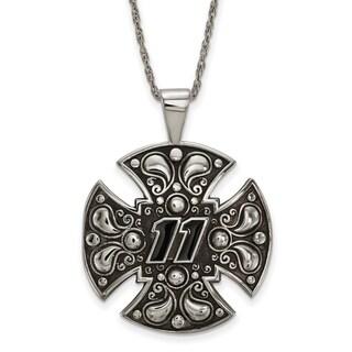 Nascar Necklace Stainless Steel Steel Large Maltese cross For Men - White
