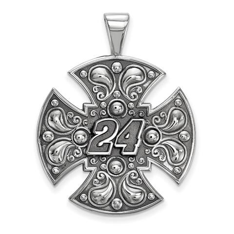 Versil Nascar Necklace Stainless Steel Steel Large Maltese cross For Men