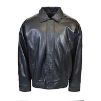 Men's Classic Lambskin Bomber Jacket with Flap