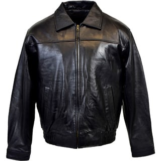 Men's Classic Black Lambskin Bomber Jacket