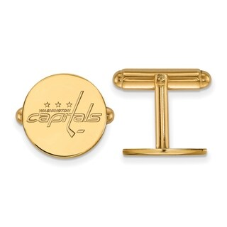 Sterling Silver With Gold Plating NHL LogoArt Washington Capitals Cuff Links