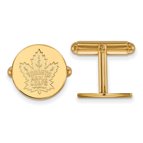 Versil Sterling Silver With Gold Plating NHL LogoArt Toronto Maple Leafs Cuff Links