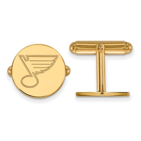Versil Sterling Silver With Gold Plating NHL LogoArt St. Louis Blues Cuff Links