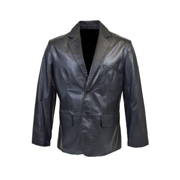 Men's Classic 2-button Lambskin Leather Blazer